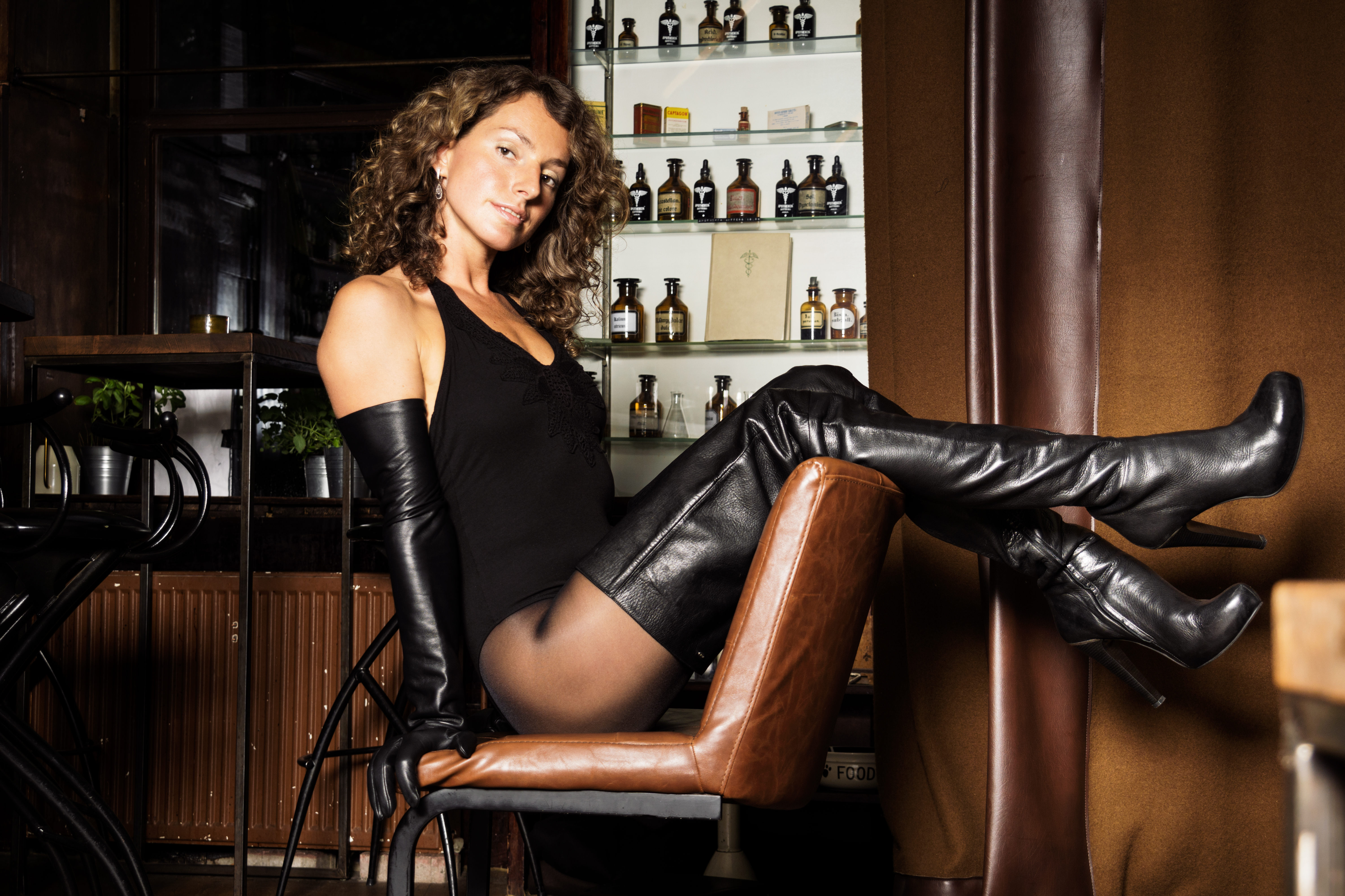 Leather Boots overknees Shooting